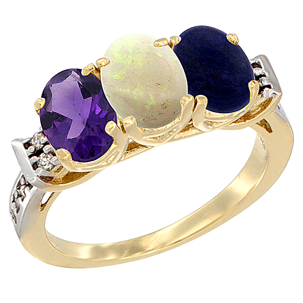 10K Yellow Gold Natural Amethyst, Opal & Lapis Ring 3-Stone Oval 7x5 mm Diamond Accent, sizes 5 - 10