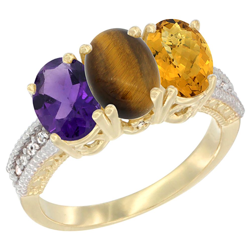 10K Yellow Gold Diamond Natural Amethyst, Tiger Eye & Whisky Quartz Ring Oval 3-Stone 7x5 mm,sizes 5-10