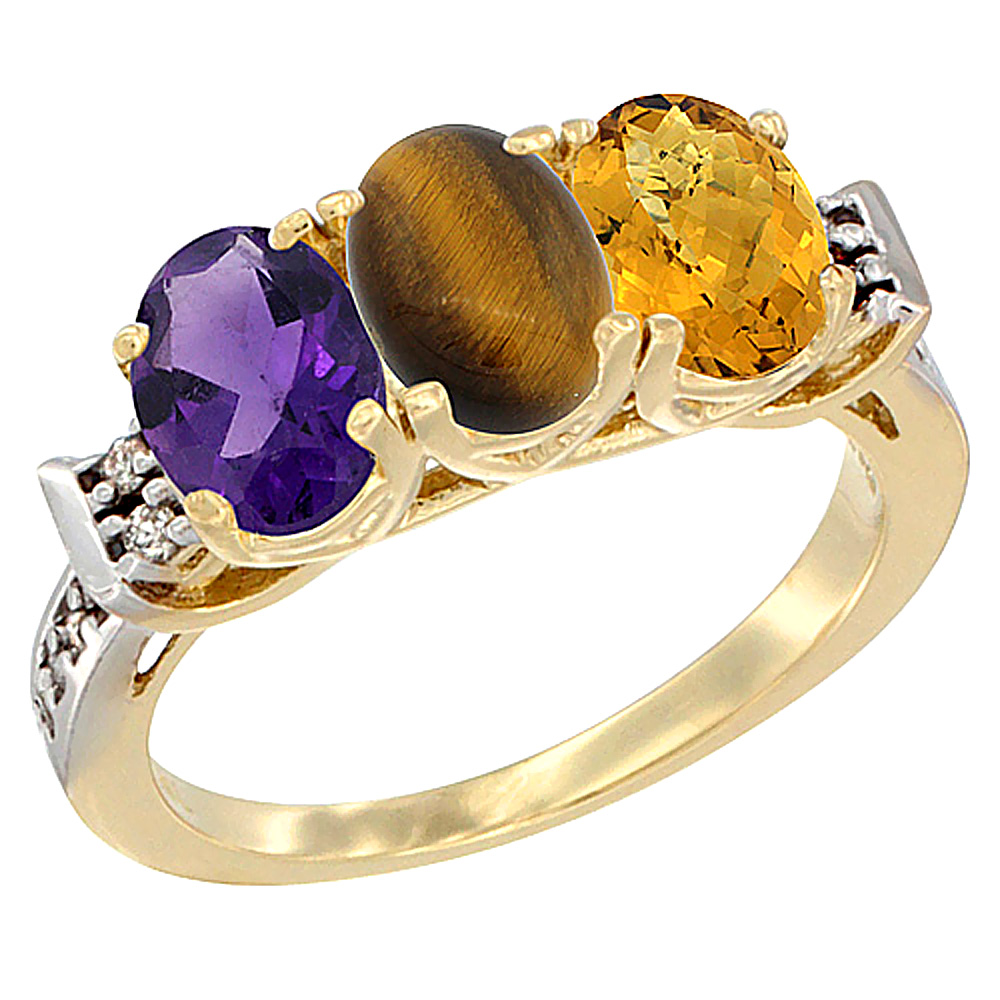 10K Yellow Gold Natural Amethyst, Tiger Eye & Whisky Quartz Ring 3-Stone Oval 7x5 mm Diamond Accent, sizes 5 - 10