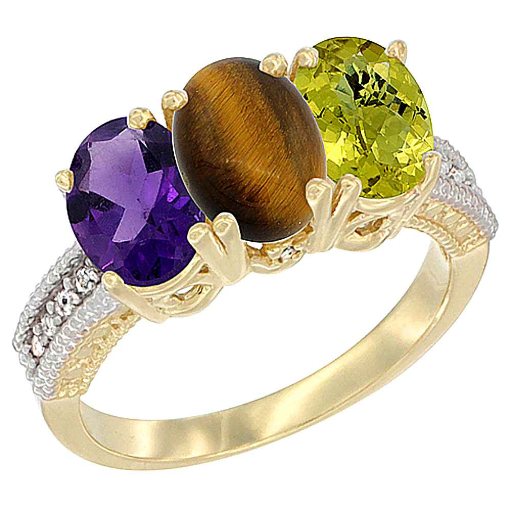 14K Yellow Gold Natural Amethyst, Tiger Eye & Lemon Quartz Ring 3-Stone 7x5 mm Oval Diamond Accent, sizes 5 - 10