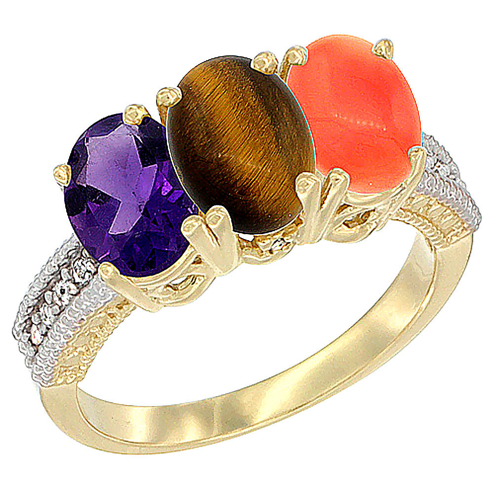 10K Yellow Gold Diamond Natural Amethyst, Tiger Eye & Coral Ring Oval 3-Stone 7x5 mm,sizes 5-10