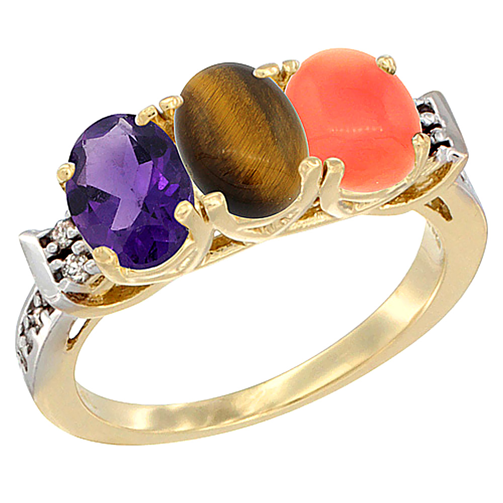 10K Yellow Gold Natural Amethyst, Tiger Eye & Coral Ring 3-Stone Oval 7x5 mm Diamond Accent, sizes 5 - 10