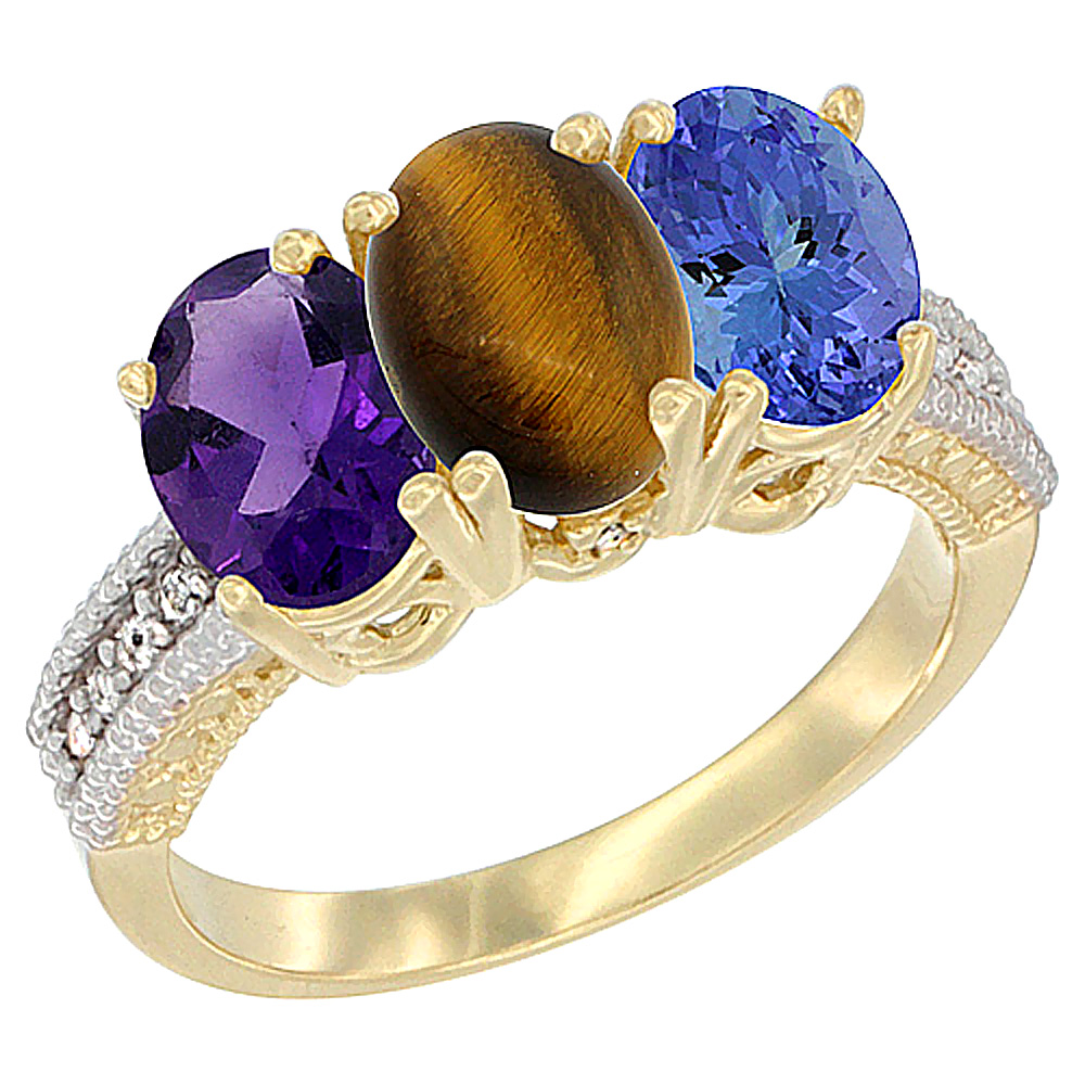 10K Yellow Gold Diamond Natural Amethyst, Tiger Eye & Tanzanite Ring Oval 3-Stone 7x5 mm,sizes 5-10