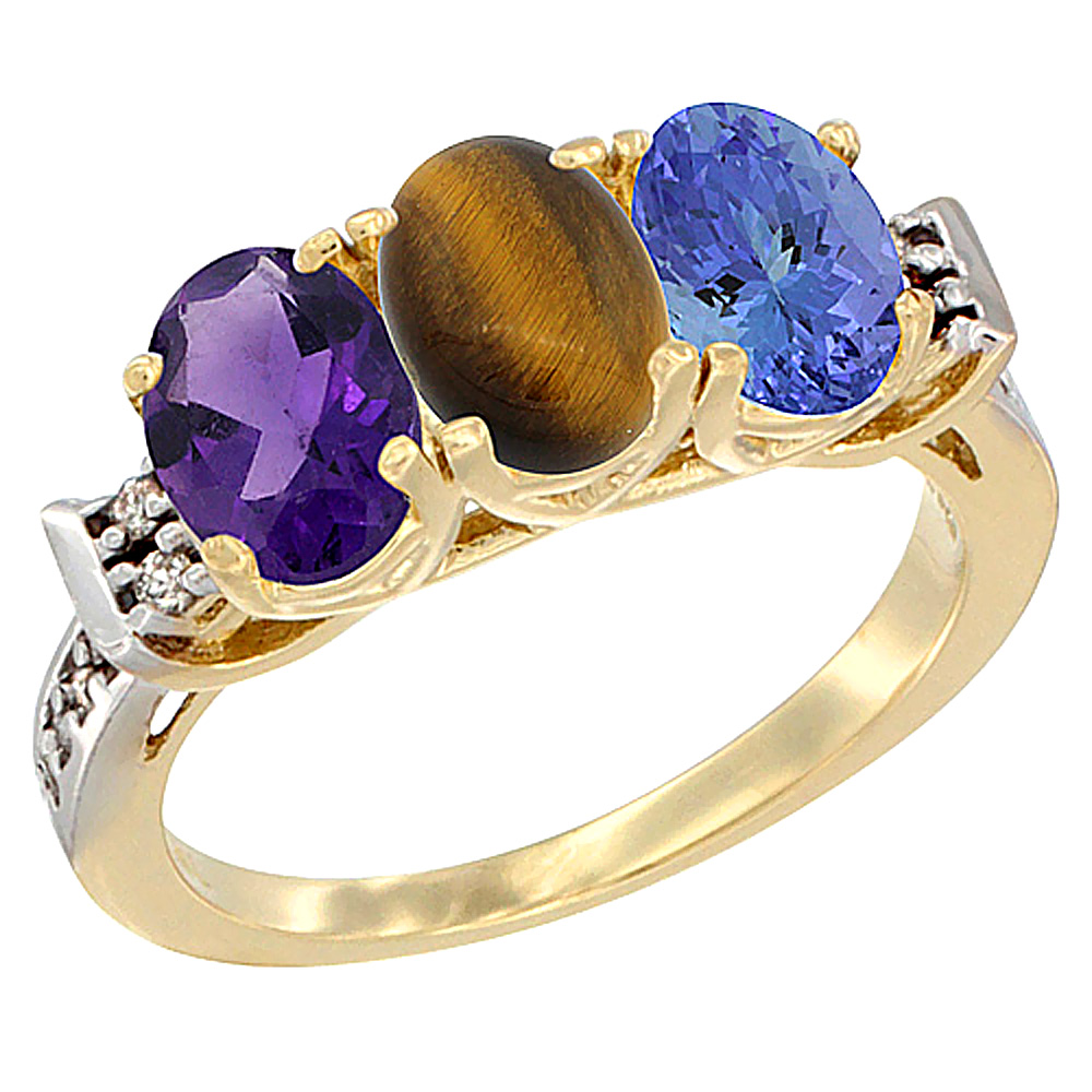 10K Yellow Gold Natural Amethyst, Tiger Eye & Tanzanite Ring 3-Stone Oval 7x5 mm Diamond Accent, sizes 5 - 10
