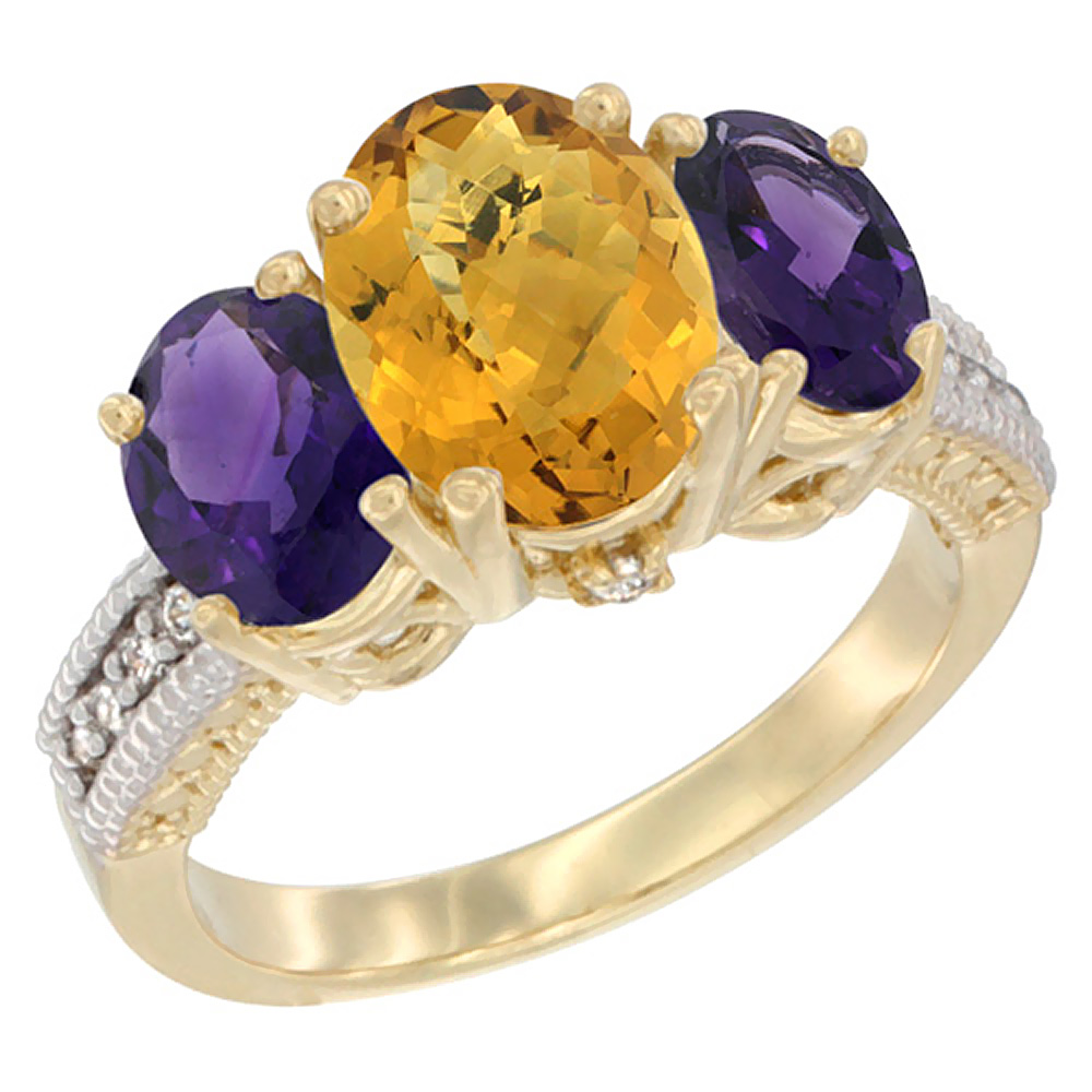 10K Yellow Gold Diamond Natural Whisky Quartz Ring 3-Stone Oval 8x6mm with Amethyst, sizes5-10