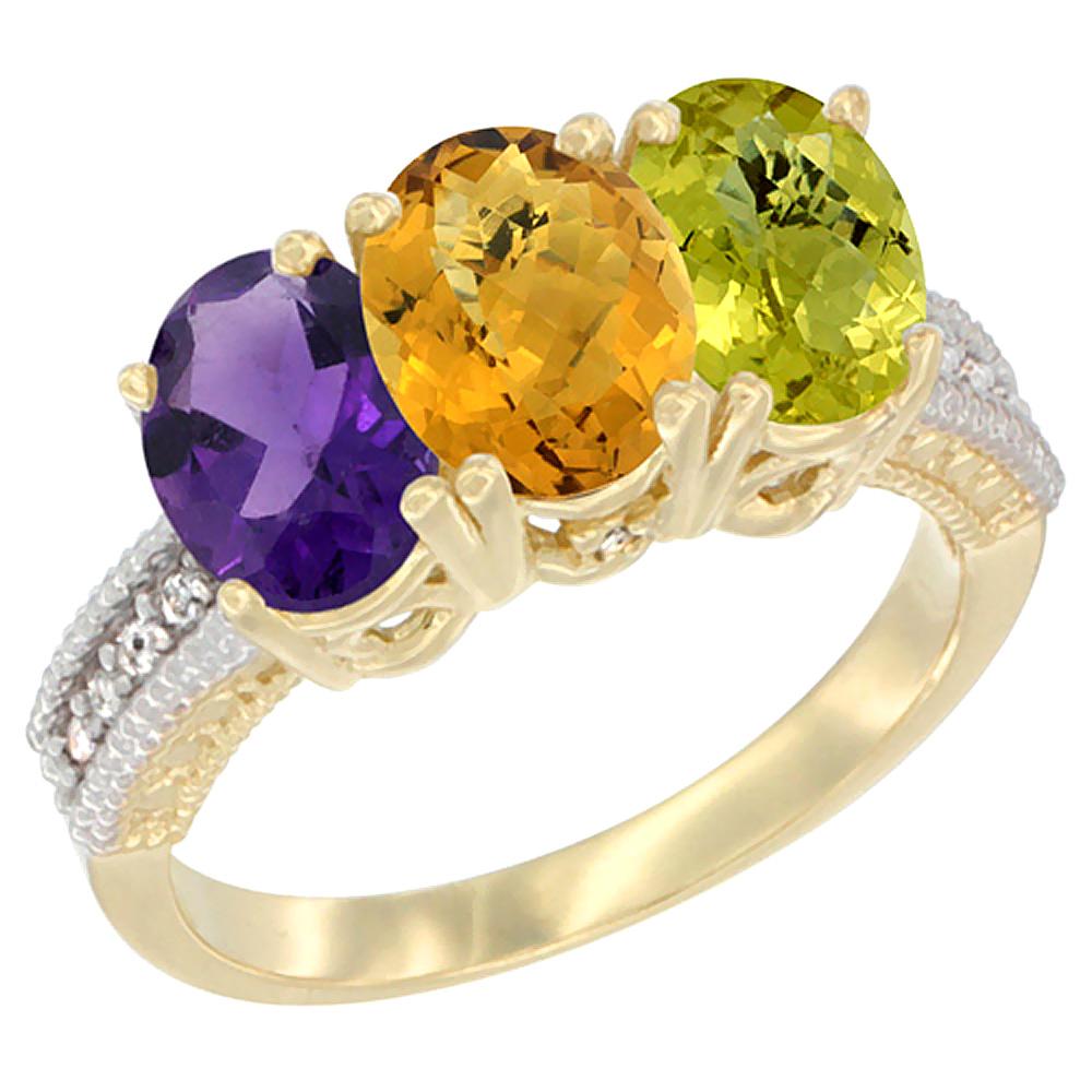 10K Yellow Gold Diamond Natural Amethyst, Whisky Quartz & Lemon Quartz Ring Oval 3-Stone 7x5 mm,sizes 5-10