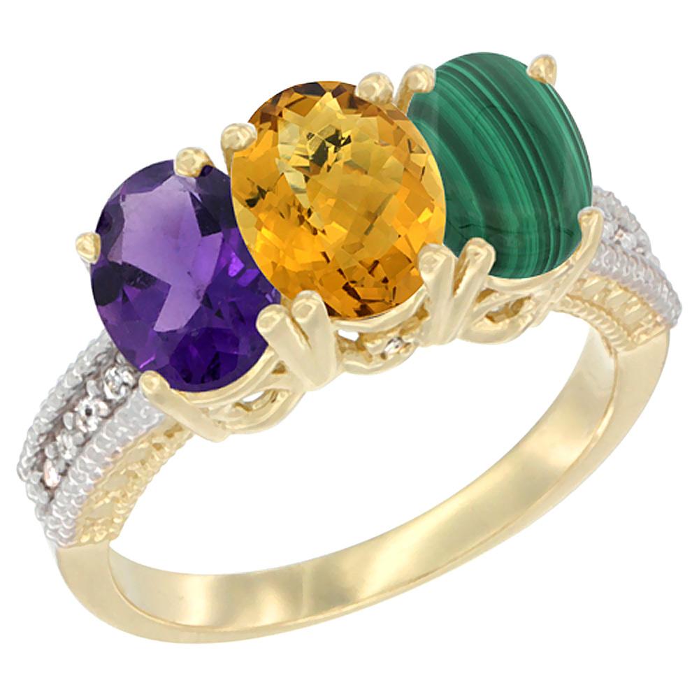 10K Yellow Gold Diamond Natural Amethyst, Whisky Quartz & Malachite Ring Oval 3-Stone 7x5 mm,sizes 5-10