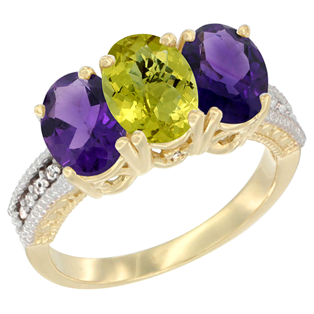 14K Yellow Gold Natural Lemon Quartz & Amethyst Ring 3-Stone 7x5 mm Oval Diamond Accent, sizes 5 - 10