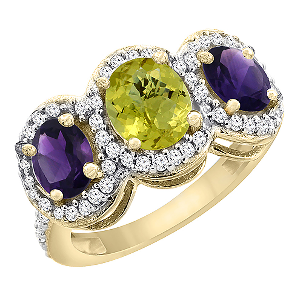 14K Yellow Gold Natural Lemon Quartz & Amethyst 3-Stone Ring Oval Diamond Accent, sizes 5 - 10