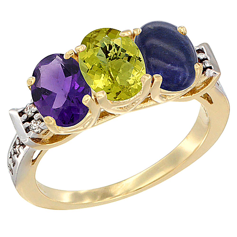 14K Yellow Gold Natural Amethyst, Lemon Quartz & Lapis Ring 3-Stone 7x5 mm Oval Diamond Accent, sizes 5 - 10