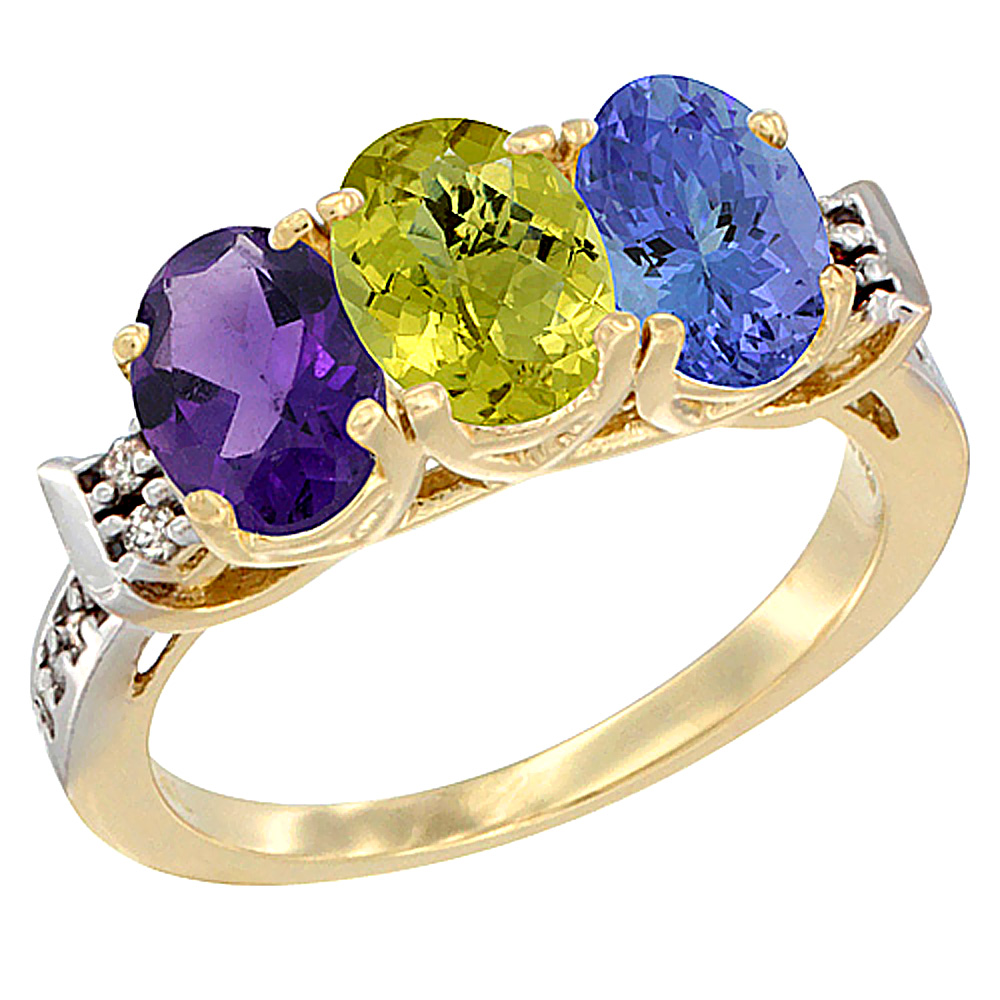 14K Yellow Gold Natural Amethyst, Lemon Quartz & Tanzanite Ring 3-Stone 7x5 mm Oval Diamond Accent, sizes 5 - 10