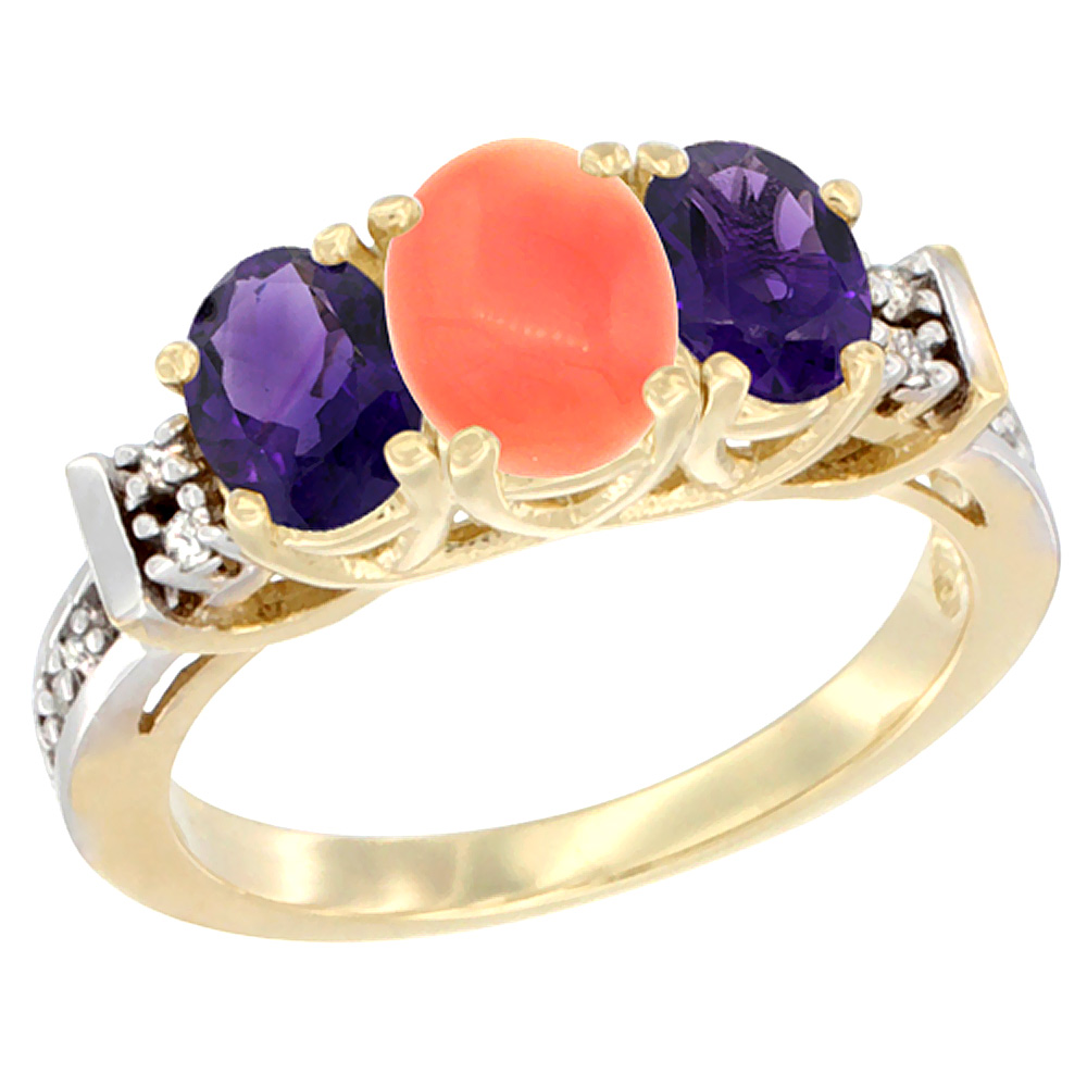 10K Yellow Gold Natural Coral & Amethyst Ring 3-Stone Oval Diamond Accent