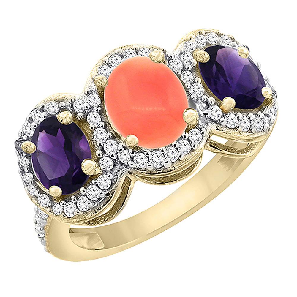 10K Yellow Gold Natural Coral & Amethyst 3-Stone Ring Oval Diamond Accent, sizes 5 - 10