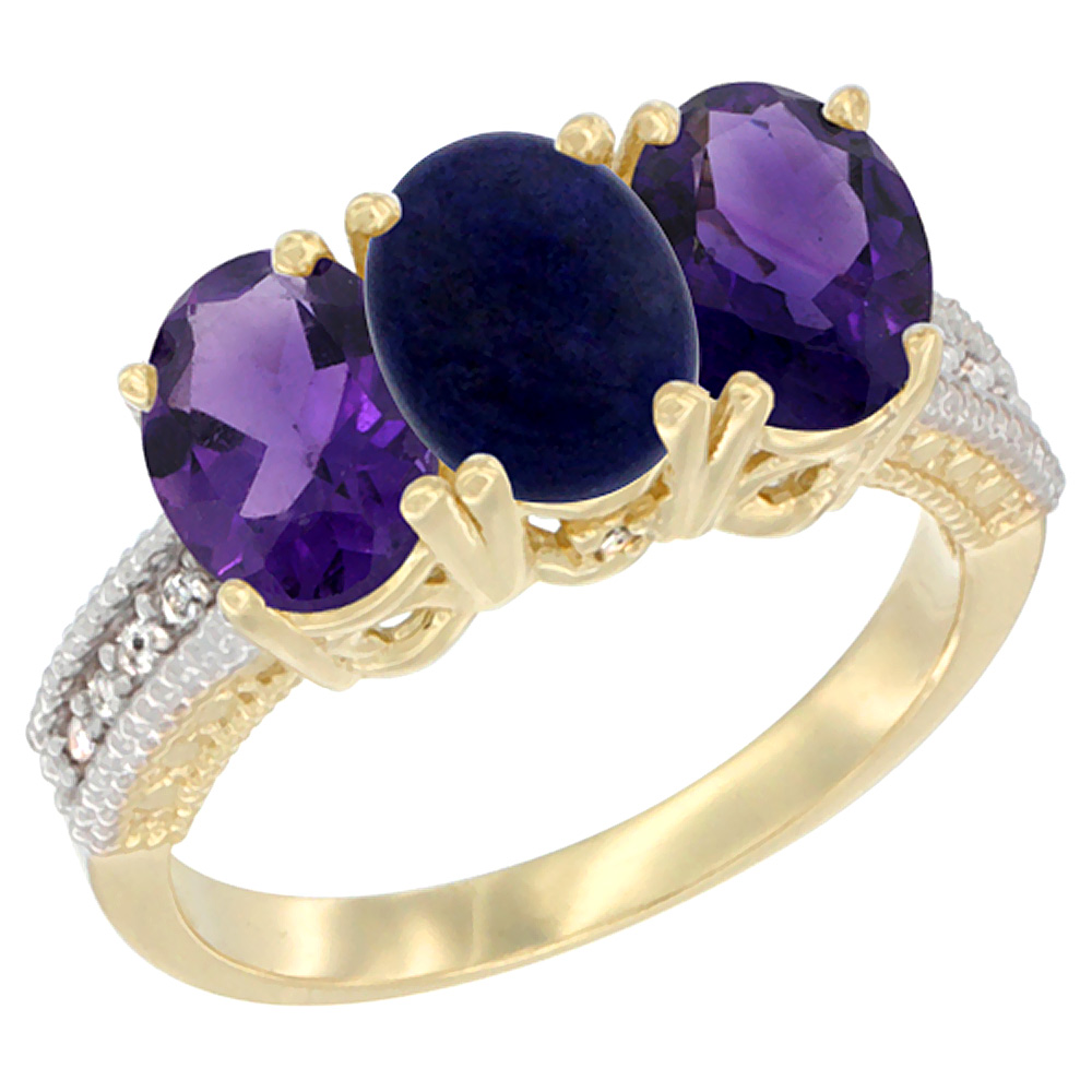 14K Yellow Gold Natural Lapis & Amethyst Ring 3-Stone 7x5 mm Oval Diamond Accent, sizes 5 - 10
