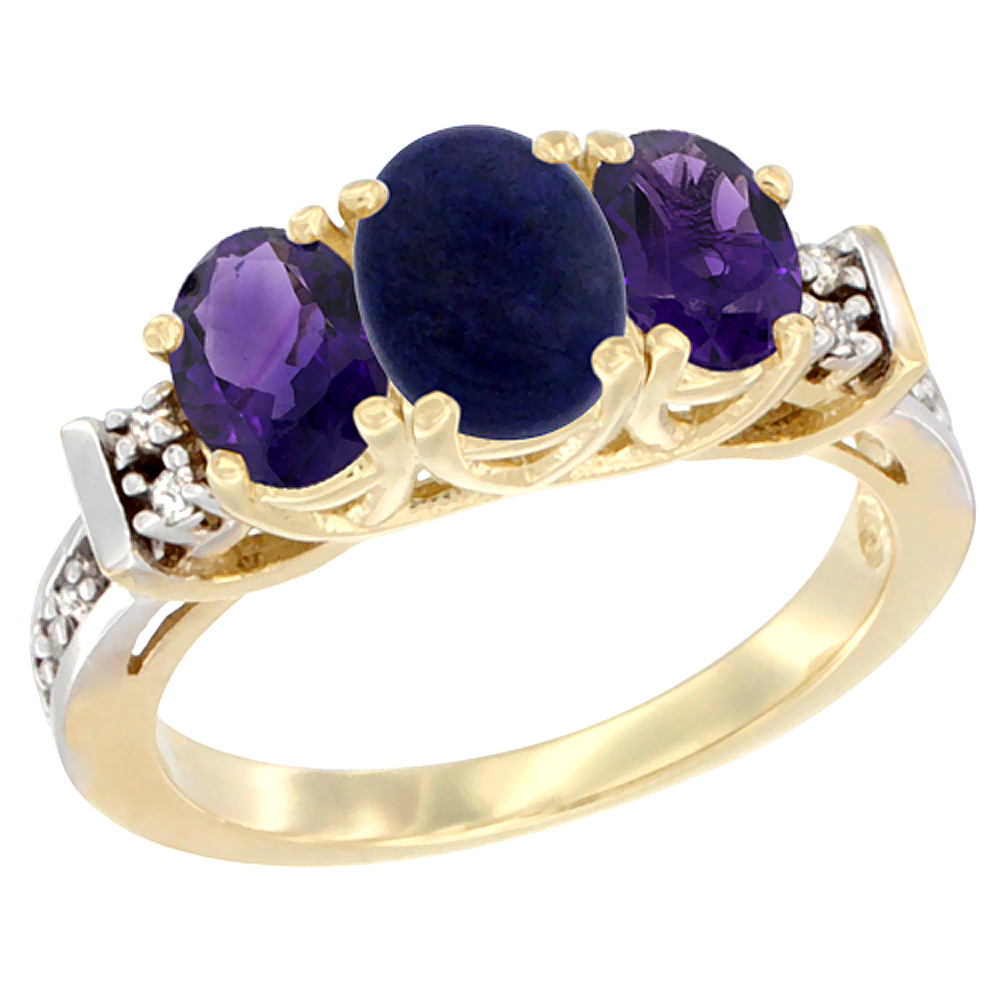 10K Yellow Gold Natural Lapis & Amethyst Ring 3-Stone Oval Diamond Accent