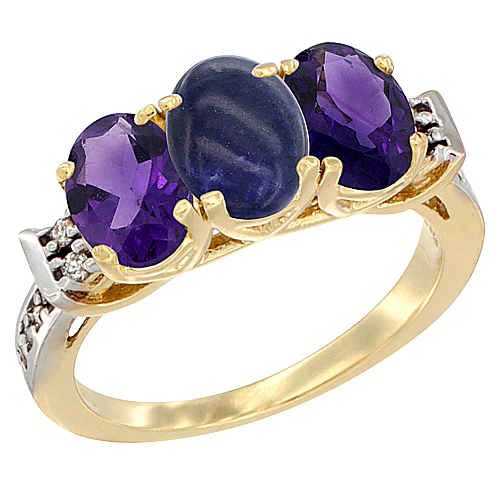 14K Yellow Gold Natural Lapis & Amethyst Sides Ring 3-Stone 7x5 mm Oval Diamond Accent, sizes 5 - 10