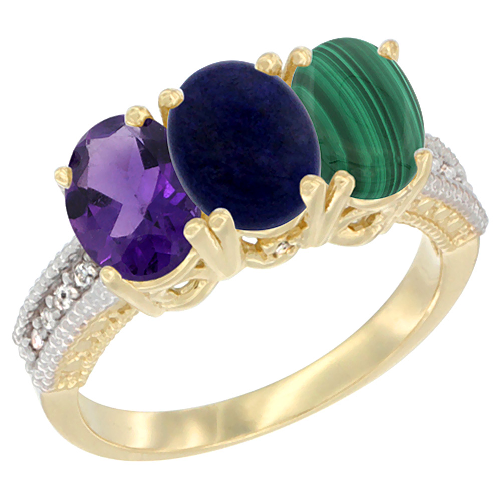 14K Yellow Gold Natural Amethyst, Lapis & Malachite Ring 3-Stone 7x5 mm Oval Diamond Accent, sizes 5 - 10