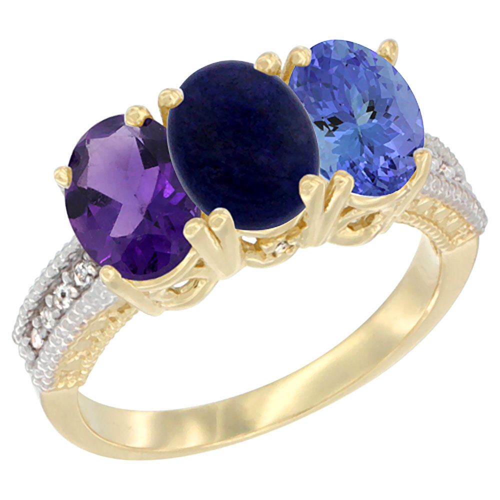14K Yellow Gold Natural Amethyst, Lapis & Tanzanite Ring 3-Stone 7x5 mm Oval Diamond Accent, sizes 5 - 10