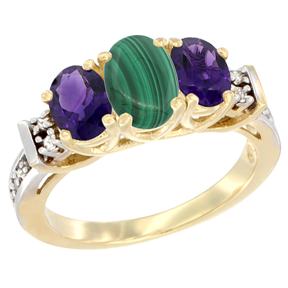 10K Yellow Gold Natural Malachite & Amethyst Ring 3-Stone Oval Diamond Accent