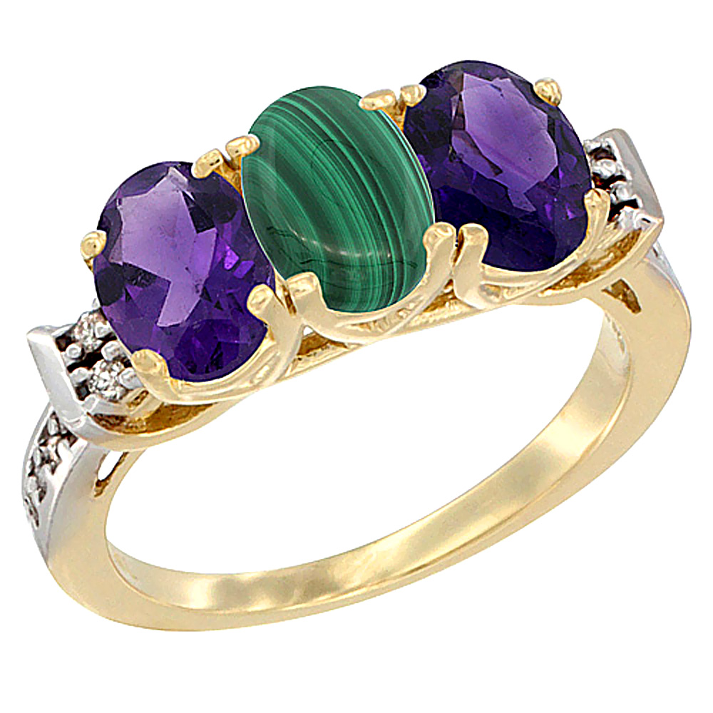 10K Yellow Gold Natural Malachite & Amethyst Sides Ring 3-Stone Oval 7x5 mm Diamond Accent, sizes 5 - 10