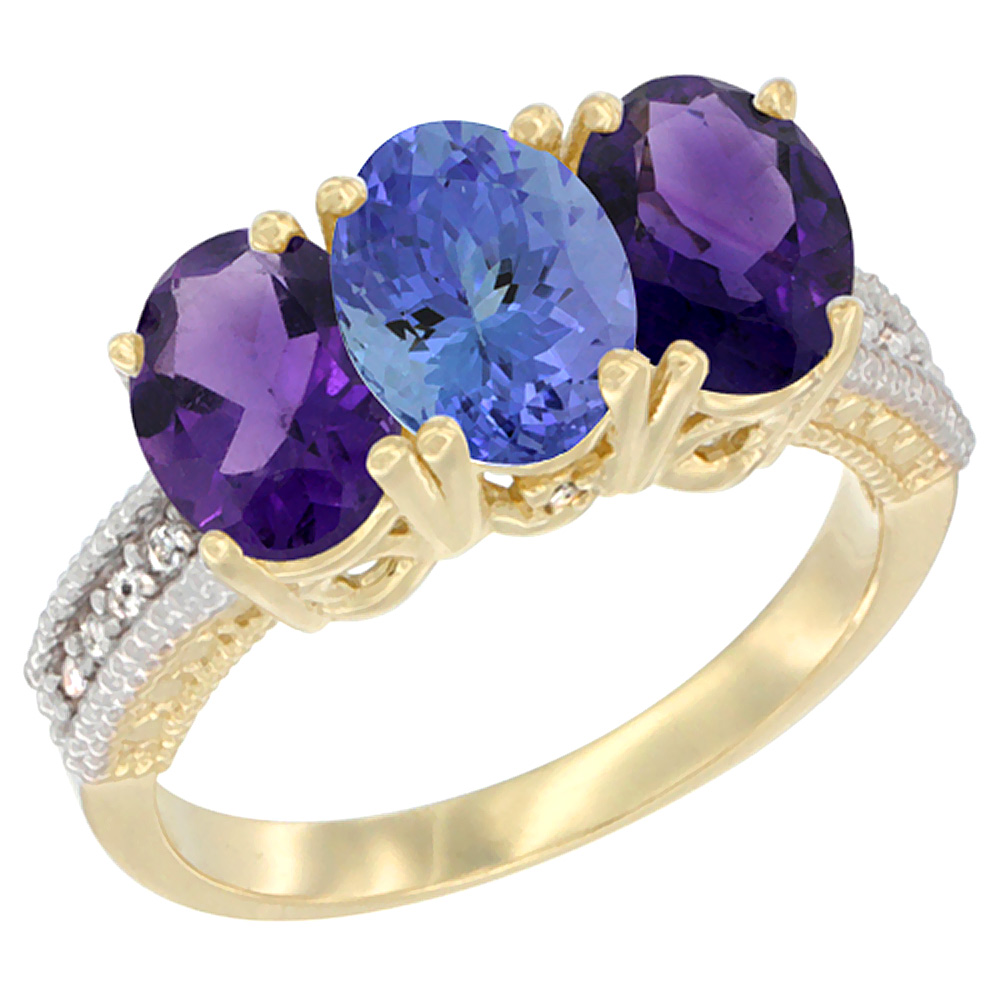 14K Yellow Gold Natural Tanzanite & Amethyst Ring 3-Stone 7x5 mm Oval Diamond Accent, sizes 5 - 10