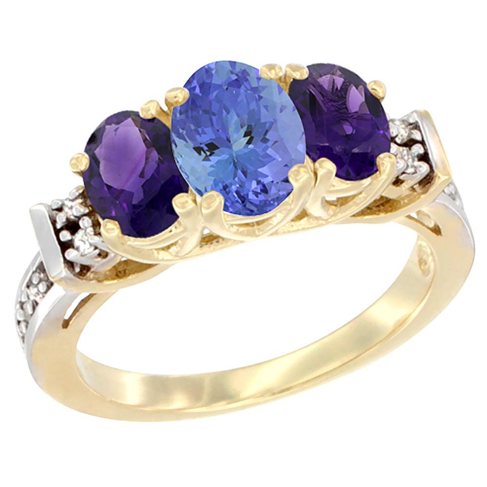 14K Yellow Gold Natural Tanzanite & Amethyst Ring 3-Stone Oval Diamond Accent