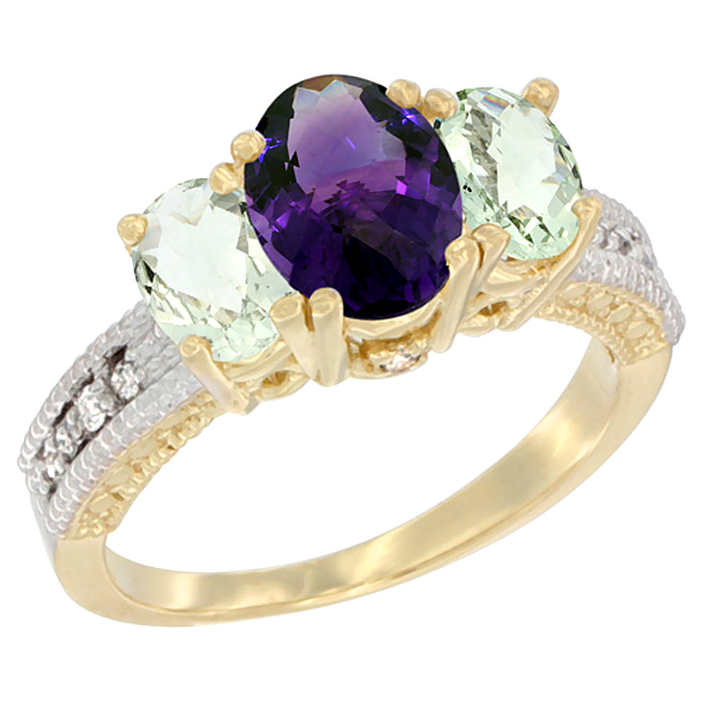 14K Yellow Gold Diamond Natural Amethyst Ring Oval 3-stone with Green Amethyst, sizes 5 - 10