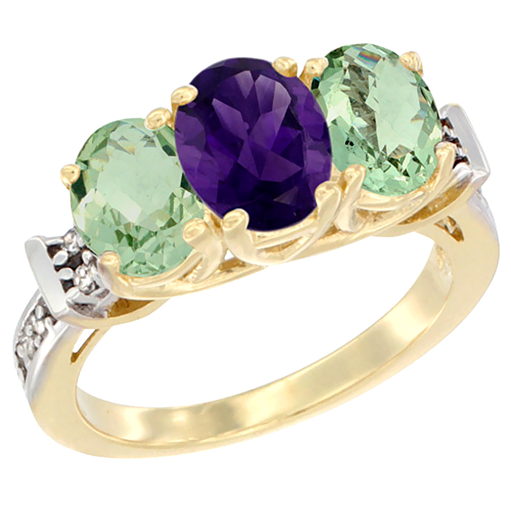 14K Yellow Gold Natural Purple & Green Amethysts Ring 3-Stone Oval Diamond Accent, sizes 5 - 10