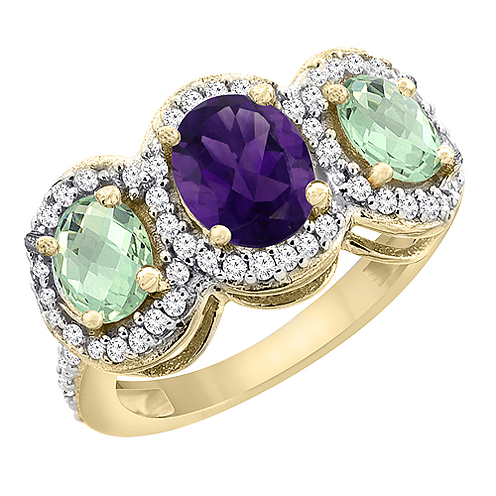 14K Yellow Gold Natural Amethyst & Green Amethyst 3-Stone Ring Oval Diamond Accent, sizes 5 - 10