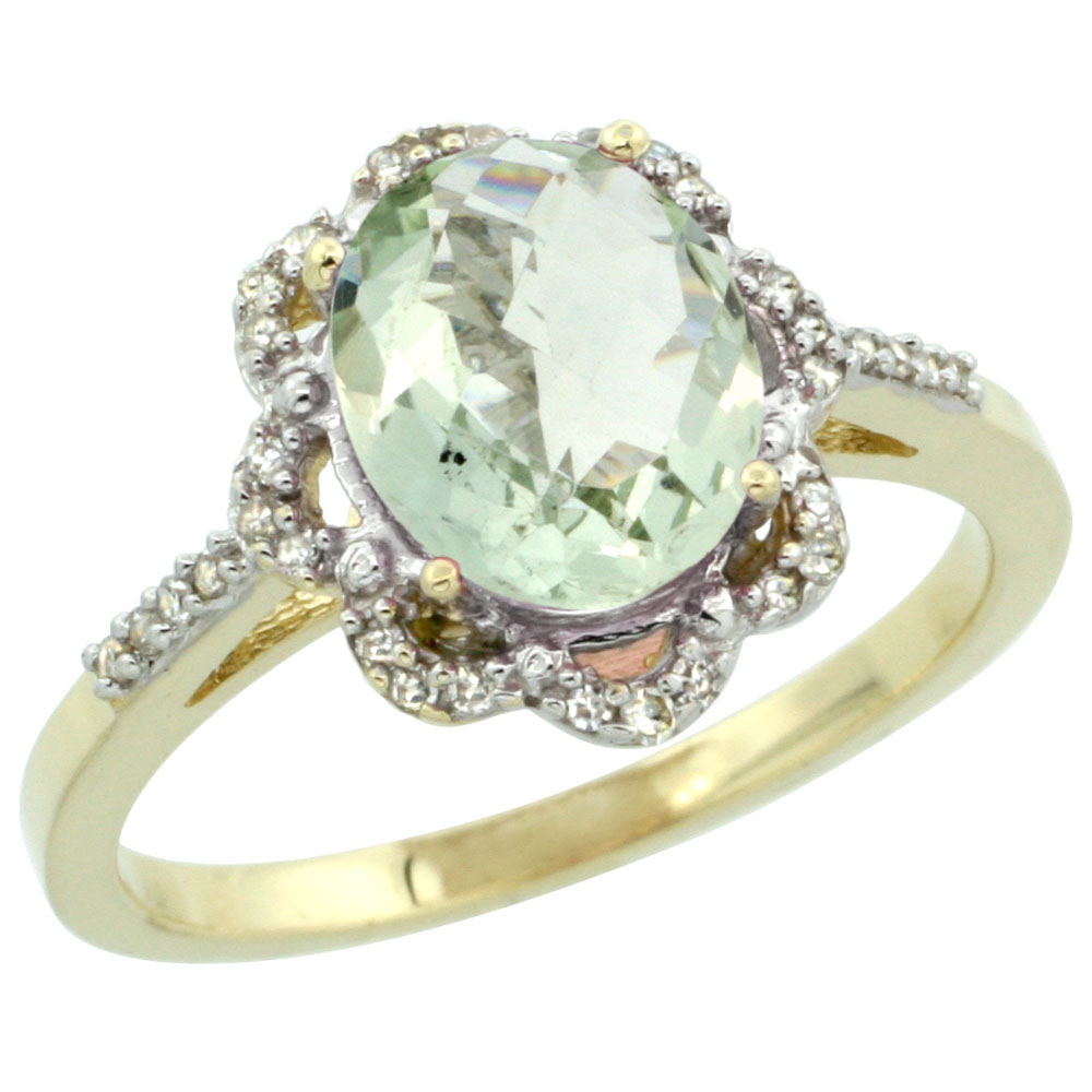 10K Yellow Gold Diamond Halo Genuine Green Amethyst Engagement Ring Oval 9x7mm sizes 5-10