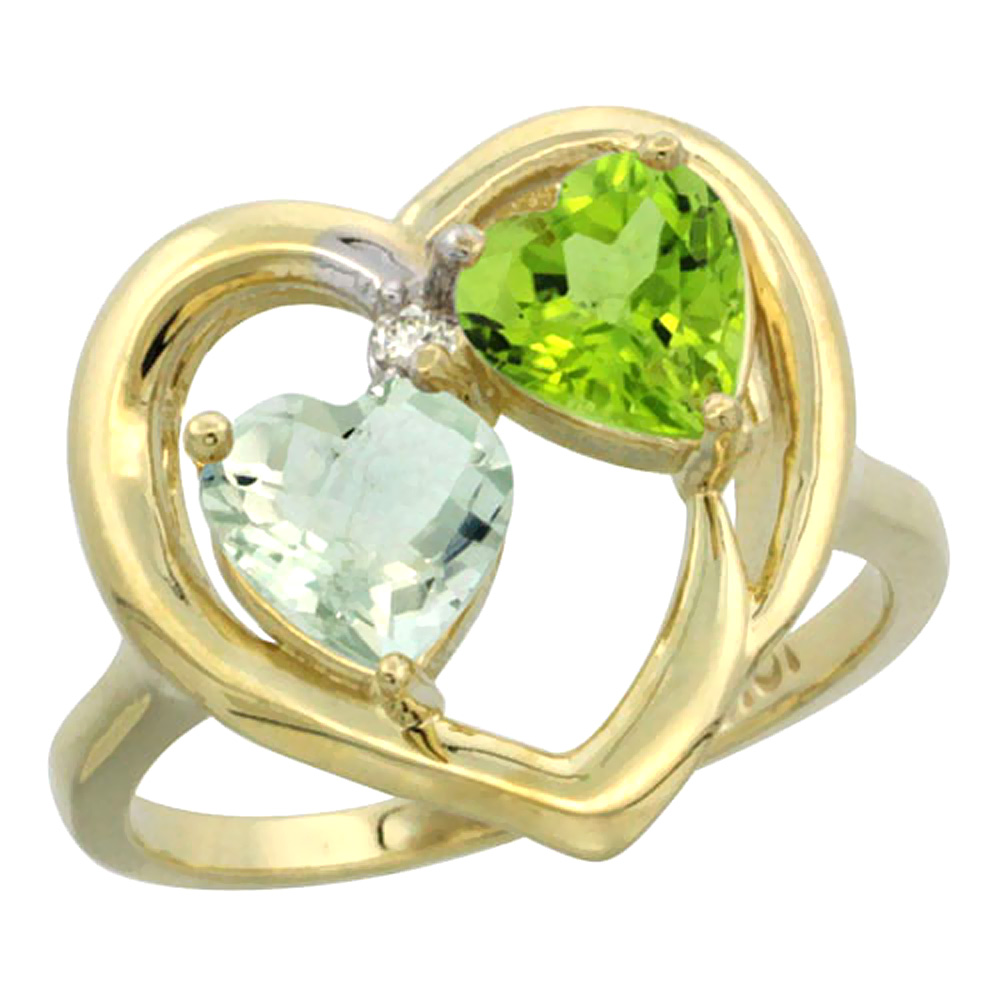 14K Yellow Gold Diamond Two-stone Heart Ring 6mm Natural Green Amethyst & Peridot, sizes 5-10