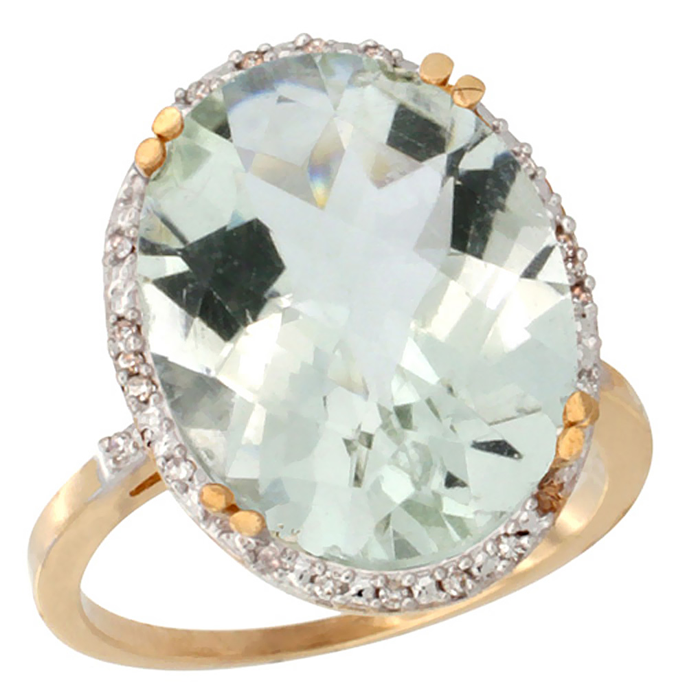 10k Yellow Gold Diamond Halo Genuine Green Amethyst Ring Large Oval 18x13mm sizes 5-10