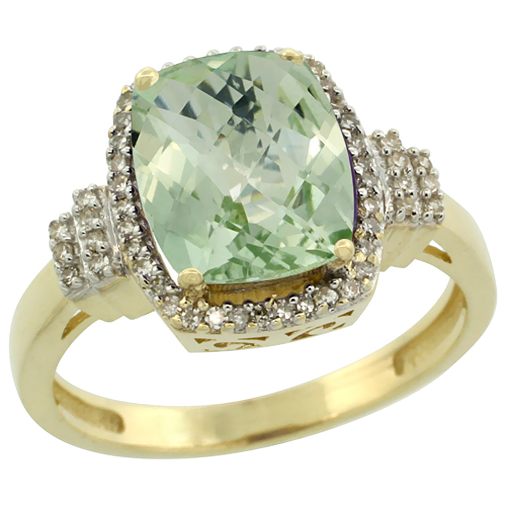 10k Yellow Gold Diamond Halo Genuine Green Amethyst Ring Cushion-cut 9x7mm sizes 5-10