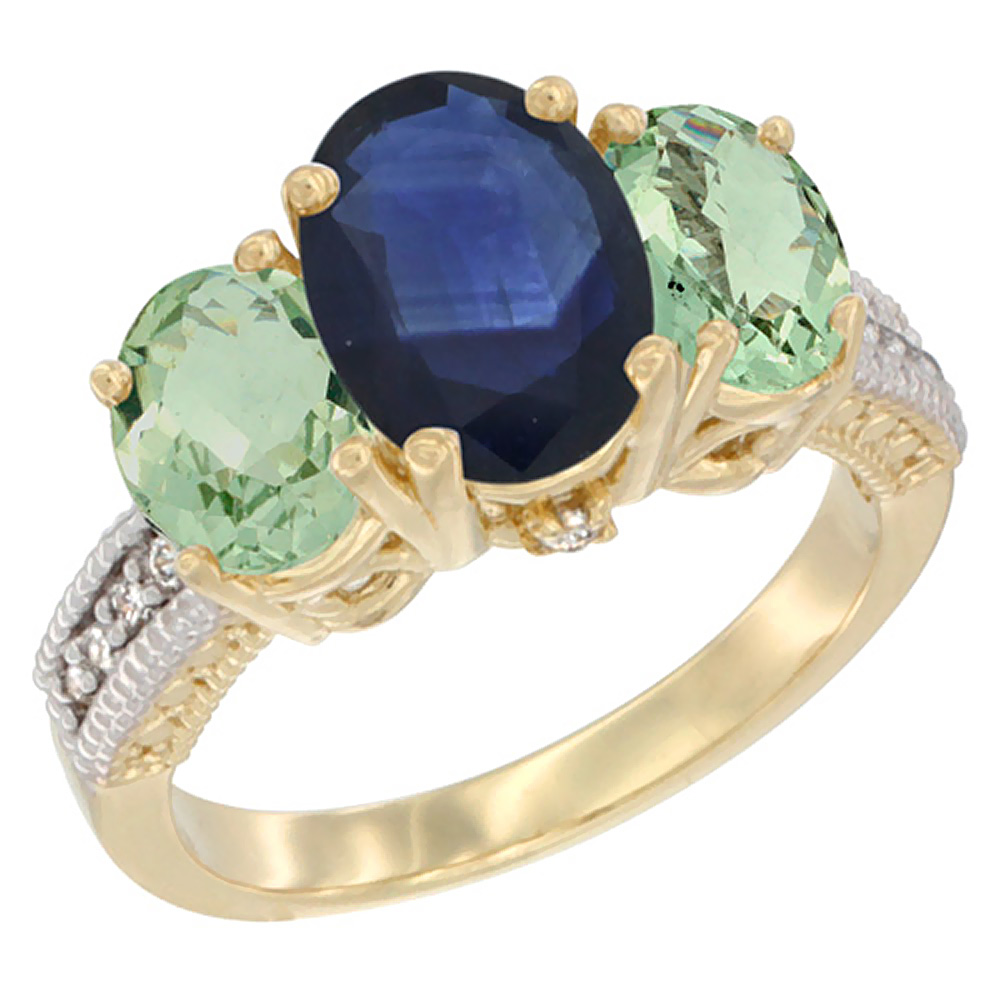 10K Yellow Gold Diamond Natural Blue Sapphire Ring 3-Stone Oval 8x6mm with Green Amethyst, sizes5-10