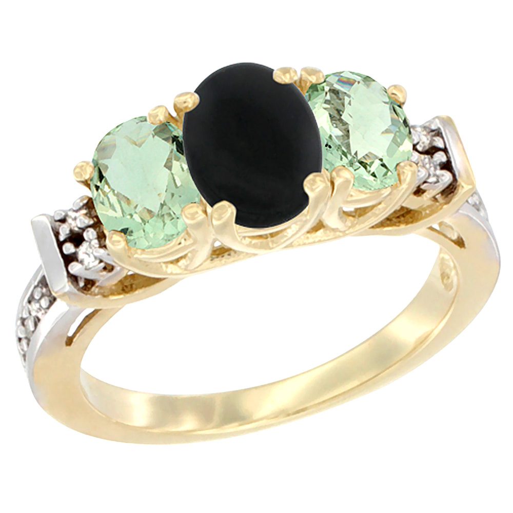 14K Yellow Gold Natural Black Onyx & Green Amethyst Ring 3-Stone Oval Diamond Accent