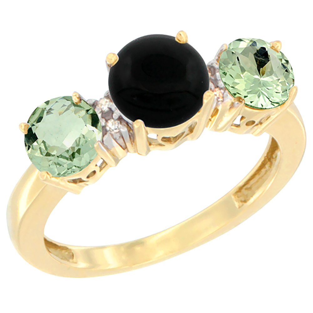 14K Yellow Gold Round 3-Stone Natural Black Onyx Ring & Green Amethyst Sides Diamond Accent, sizes 5 - 10