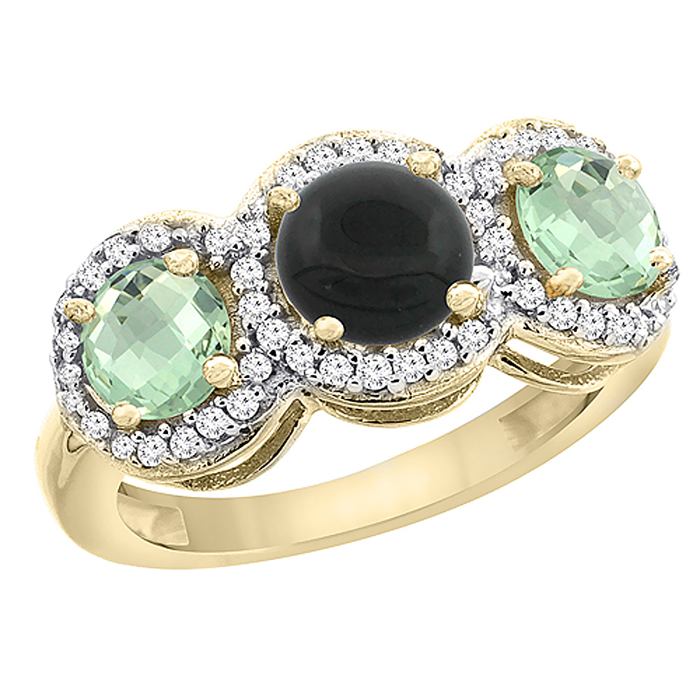 14K Yellow Gold Natural Black Onyx & Green Amethyst Sides Round 3-stone Ring Diamond Accents, sizes 5 - 10