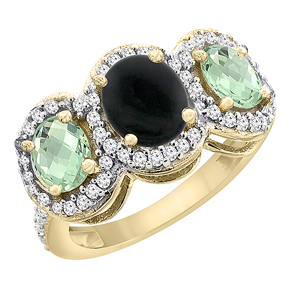 14K Yellow Gold Natural Black Onyx & Green Amethyst 3-Stone Ring Oval Diamond Accent, sizes 5 - 10