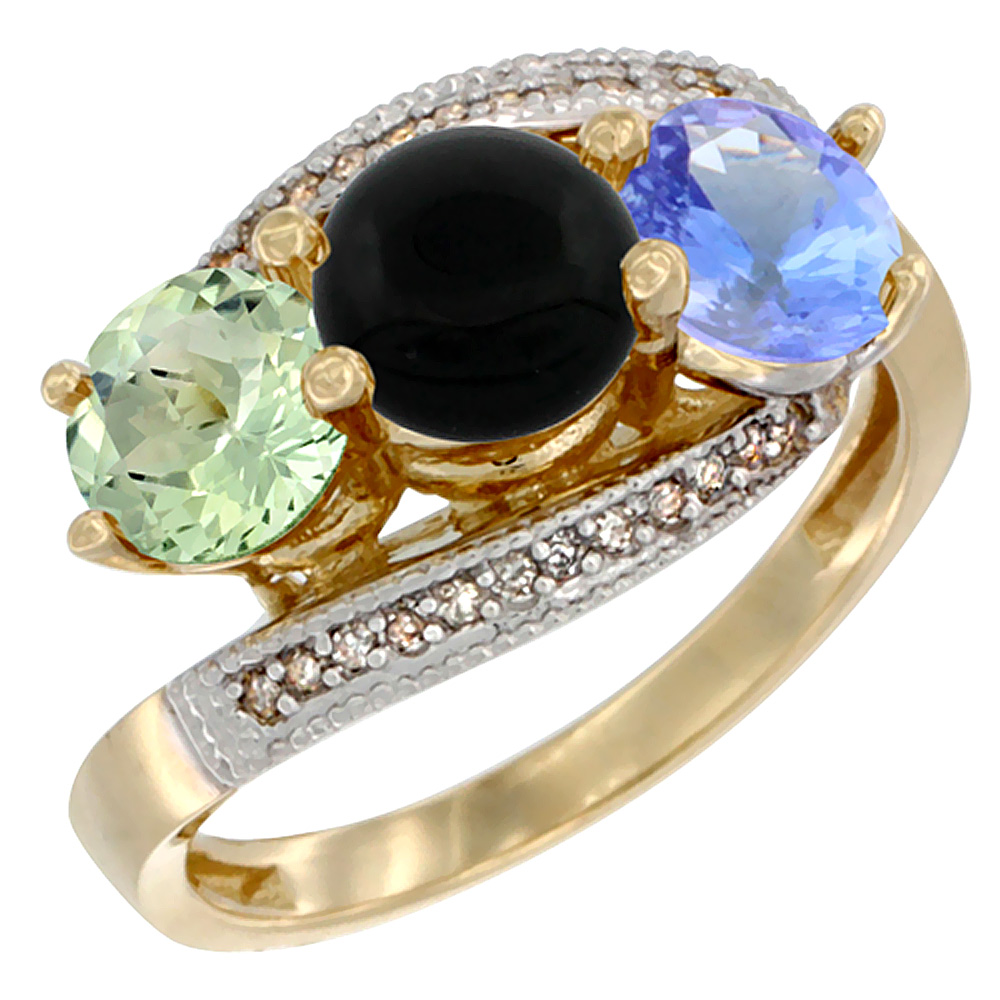 14K Yellow Gold Natural Green Amethyst, Black Onyx & Tanzanite 3 stone Ring Round 6mm Diamond Accent, sizes 5 - 10
