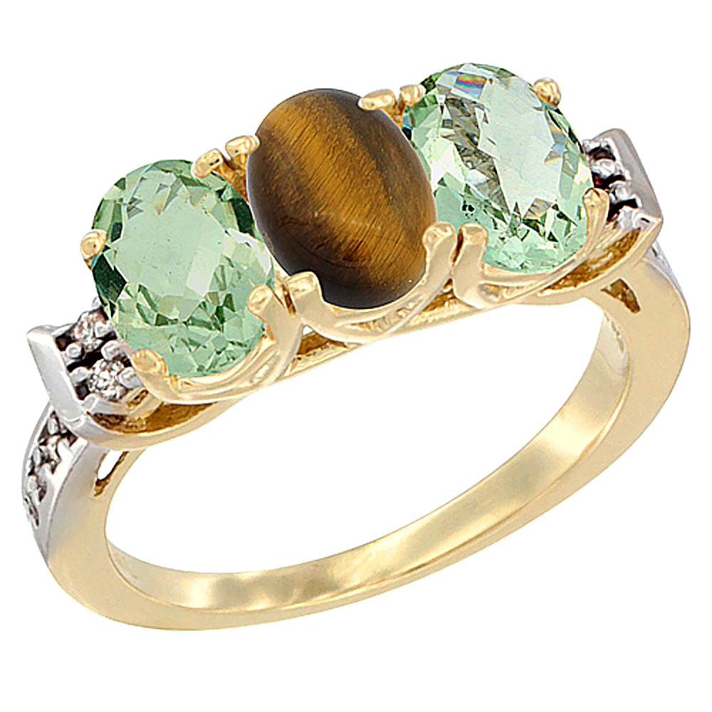 10K Yellow Gold Natural Tiger Eye & Green Amethyst Sides Ring 3-Stone Oval 7x5 mm Diamond Accent, sizes 5 - 10