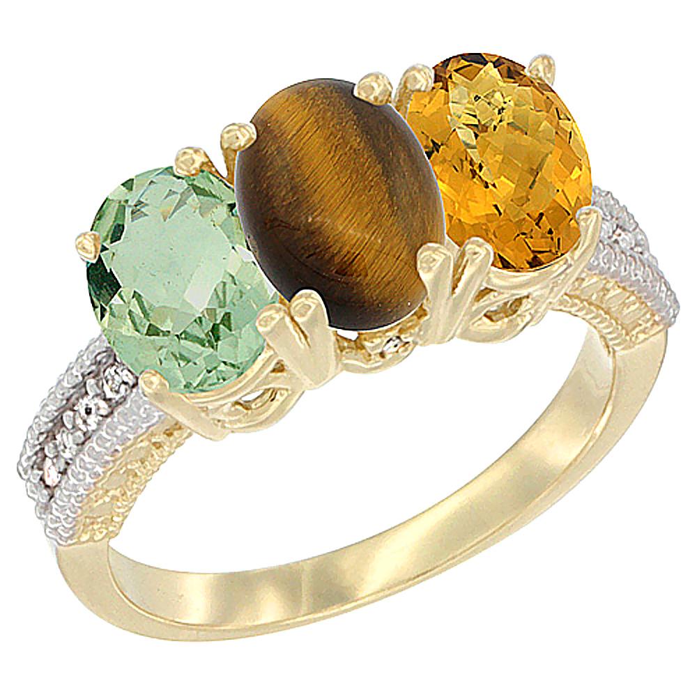 10K Yellow Gold Diamond Natural Green Amethyst, Tiger Eye & Whisky Quartz Ring 3-Stone Oval 7x5 mm, sizes 5 - 10