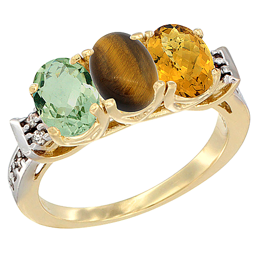 10K Yellow Gold Natural Green Amethyst, Tiger Eye & Whisky Quartz Ring 3-Stone Oval 7x5 mm Diamond Accent, sizes 5 - 10
