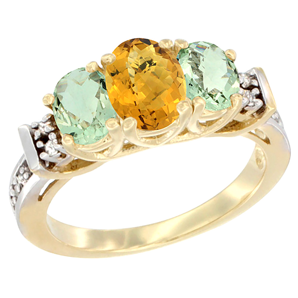 10K Yellow Gold Natural Whisky Quartz & Green Amethyst Ring 3-Stone Oval Diamond Accent