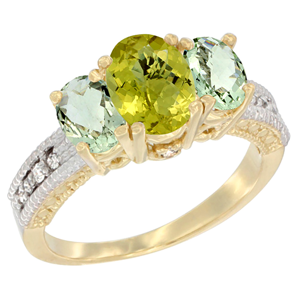 14K Yellow Gold Diamond Natural Lemon Quartz Ring Oval 3-stone with Green Amethyst, sizes 5 - 10
