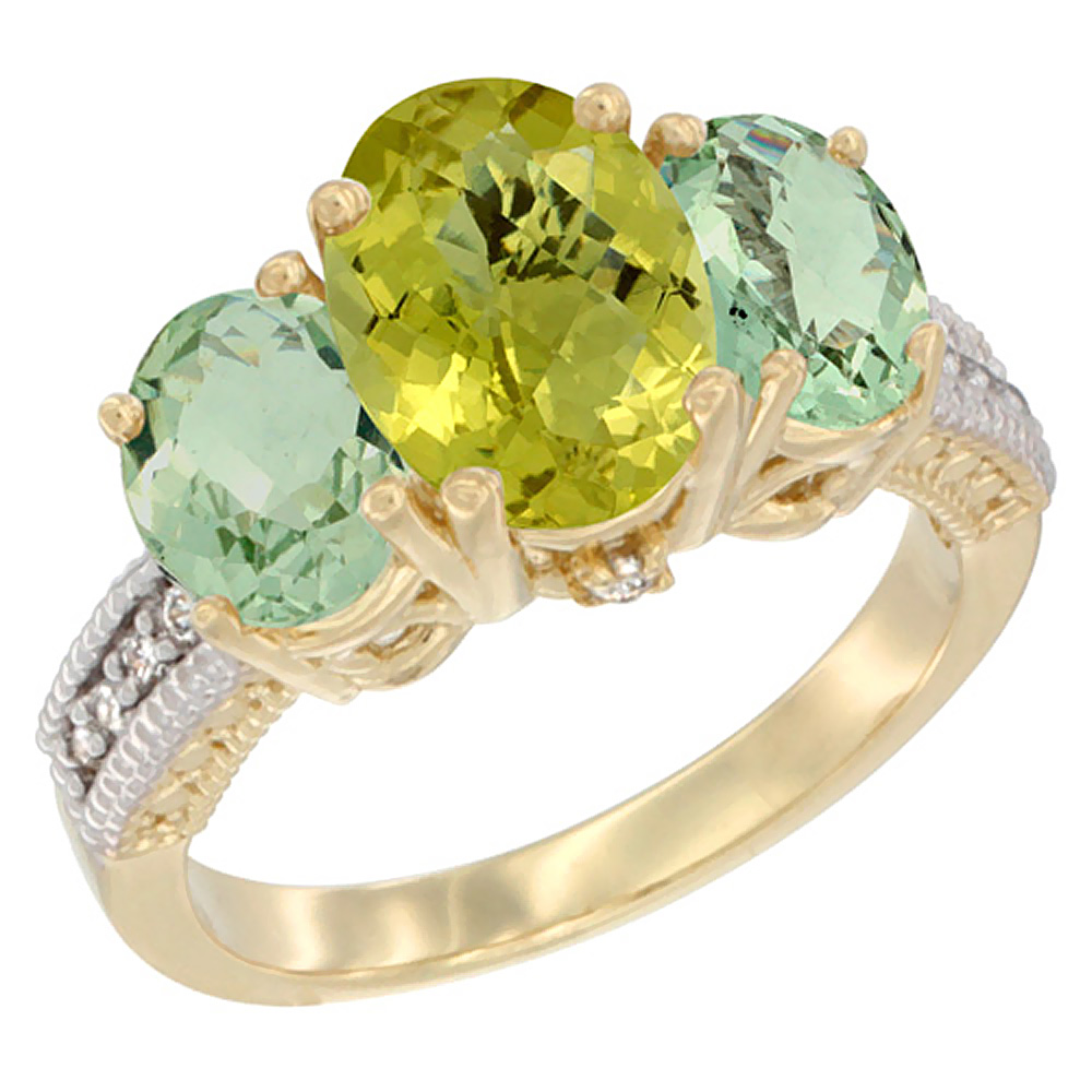 14K Yellow Gold Diamond Natural Lemon Quartz Ring 3-Stone Oval 8x6mm with Green Amethyst, sizes5-10