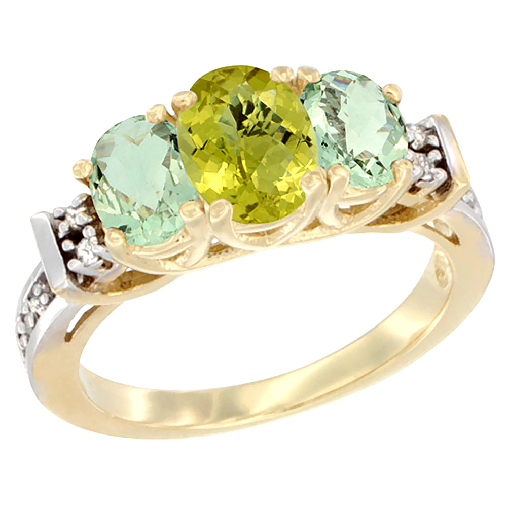 14K Yellow Gold Natural Lemon Quartz & Green Amethyst Ring 3-Stone Oval Diamond Accent