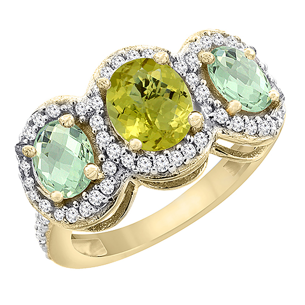 14K Yellow Gold Natural Lemon Quartz & Green Amethyst 3-Stone Ring Oval Diamond Accent, sizes 5 - 10