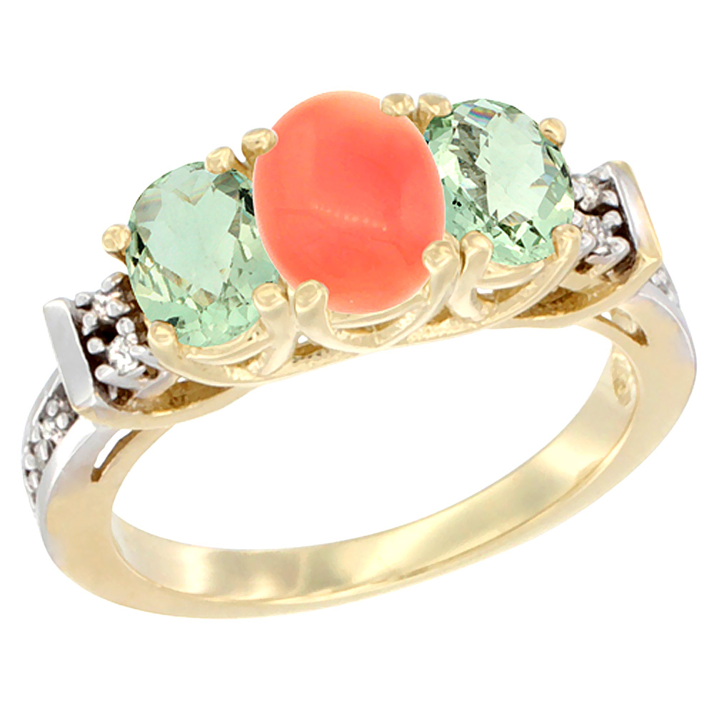 10K Yellow Gold Natural Coral & Green Amethyst Ring 3-Stone Oval Diamond Accent