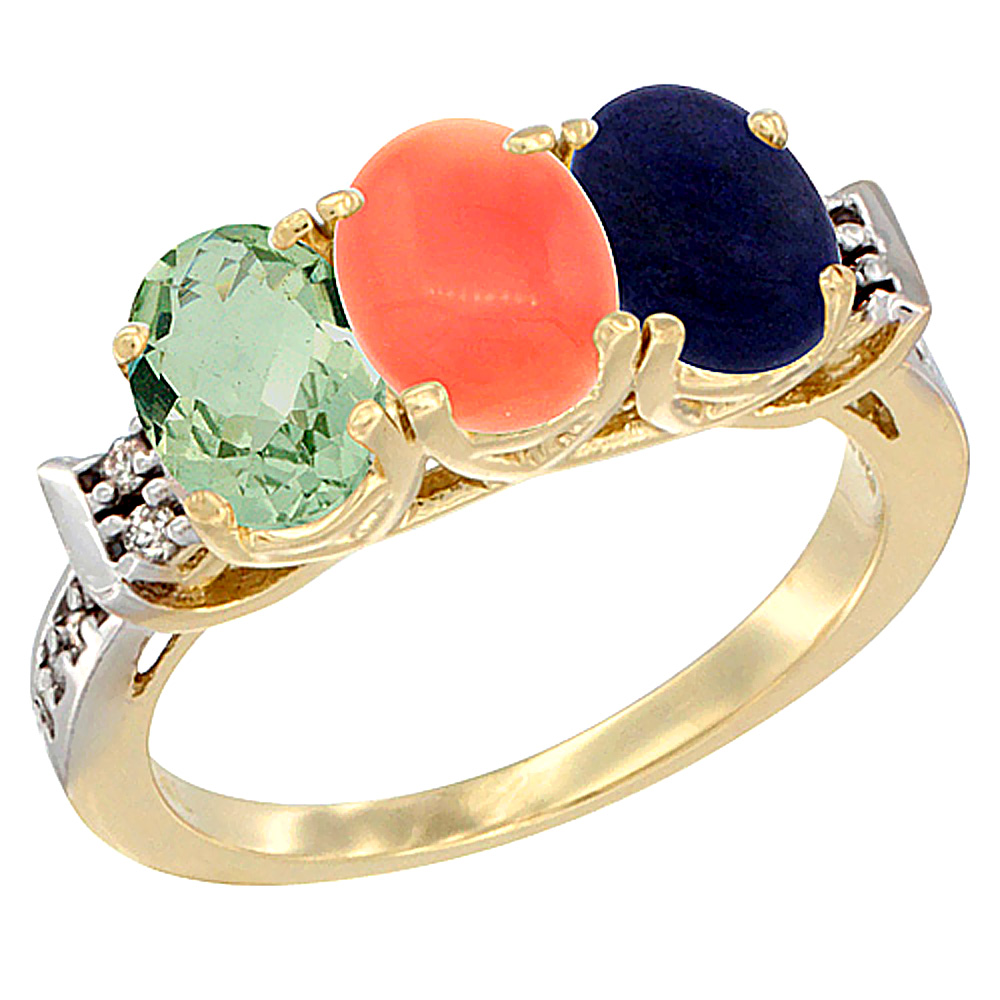 10K Yellow Gold Natural Green Amethyst, Coral & Lapis Ring 3-Stone Oval 7x5 mm Diamond Accent, sizes 5 - 10