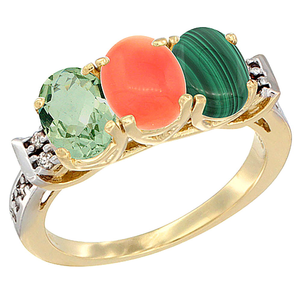 10K Yellow Gold Natural Green Amethyst, Coral & Malachite Ring 3-Stone Oval 7x5 mm Diamond Accent, sizes 5 - 10